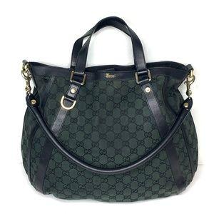 Authentic Gucci black & green monogram hobo bag